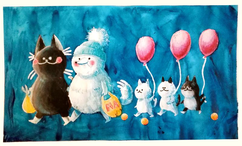 Eläinperhe matkalla marketista kotiin. Lapset ovat saaneet punaiset ilmapallot. Eläimet myhäilevät tyytyväisinä.