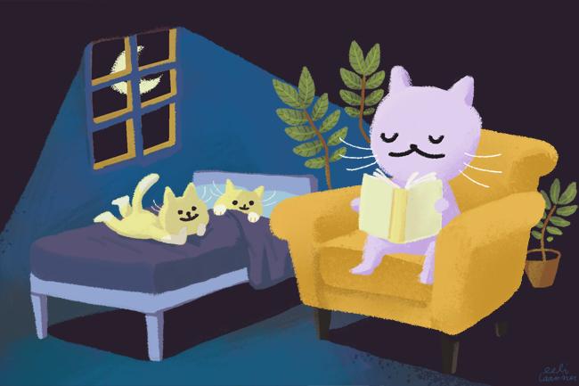 Iltsatu kissanpennuille. Digitaalinen kuvitus.