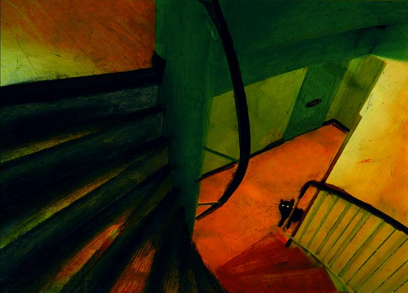 Alhaalla rappukäytävässä on tuijottava musta kissa.